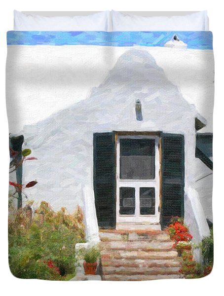 Duvet Cover featuring the photograph Old Bermuda Home by Verena Matthew