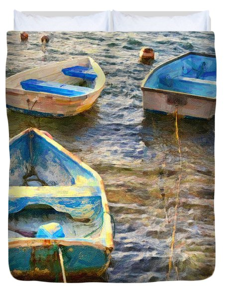 Duvet Cover featuring the photograph Old Bermuda Rowboats by Verena Matthew