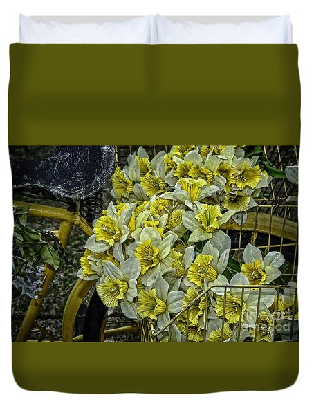 Old Bike And Yellow Flowers Duvet Cover