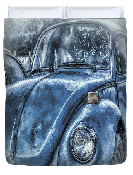 Duvet Cover featuring the photograph Old Blue Bug by Jean OKeeffe Macro Abundance Art