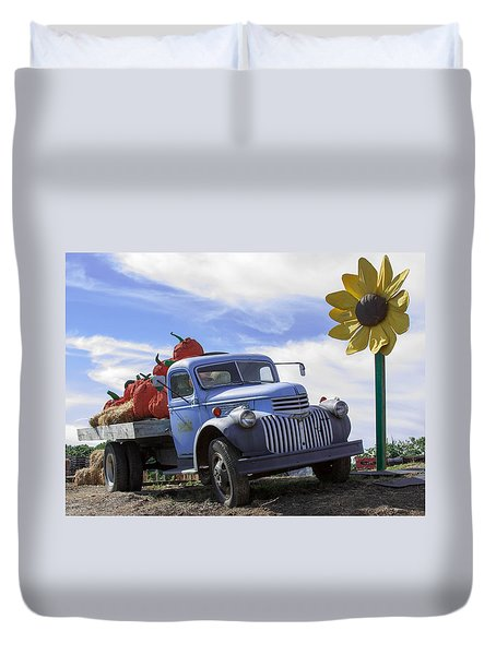 Old Blue Farm Truck  Duvet Cover by Patrice Zinck