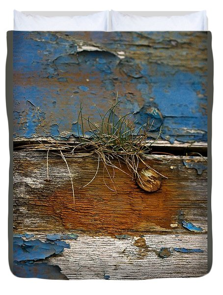 Duvet Cover featuring the photograph Old Boat - Peeling Paint by Liz  Alderdice