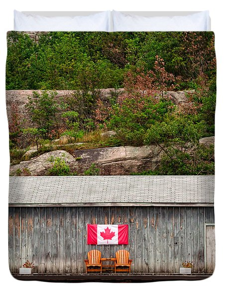 Old Boathouse With Two Muskoka Chairs Duvet Cover