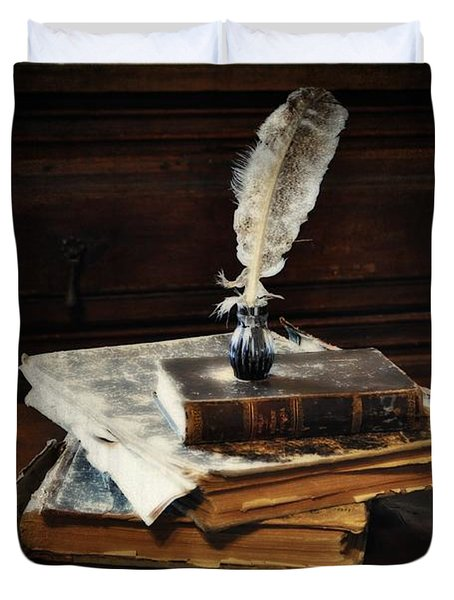 Old Books And A Quill Duvet Cover by Mary Machare