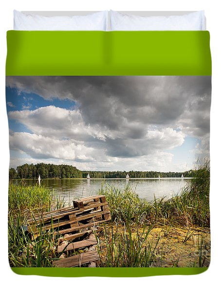 Old Bridge And Boats At The Lake Duvet Cover by Arletta Cwalina