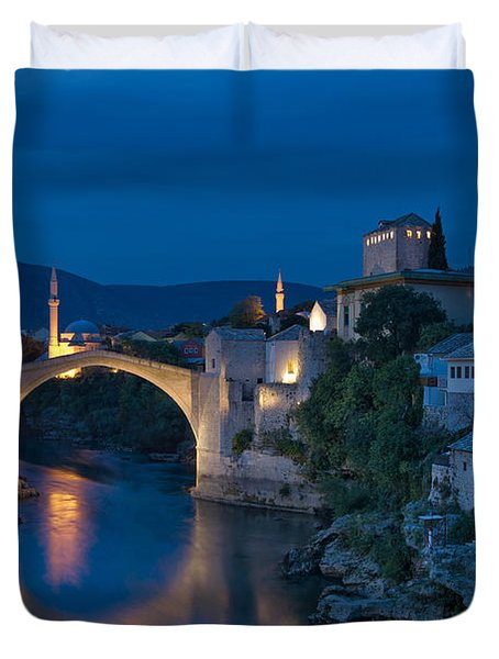 Old Bridge In Mostar Duvet Cover