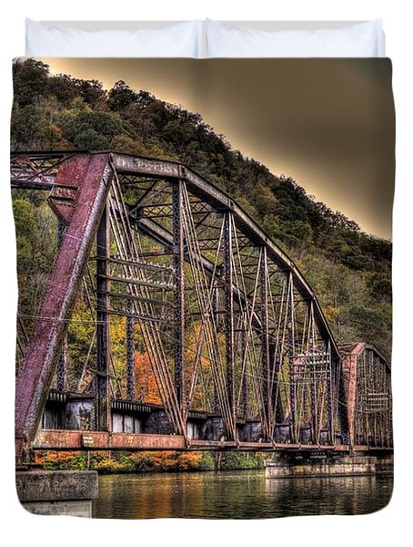 Duvet Cover featuring the photograph Old Bridge Over Lake by Jonny D