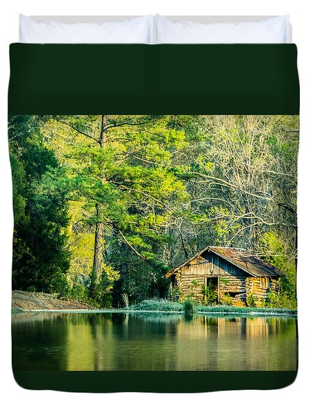 Old Cabin By The Pond Duvet Cover