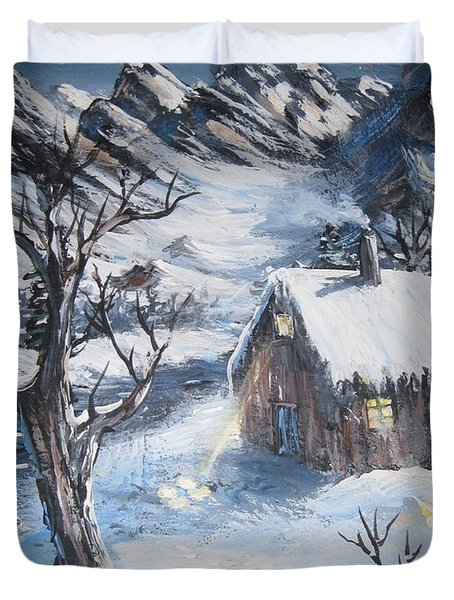 Duvet Cover featuring the painting Old Cabin by Megan Walsh