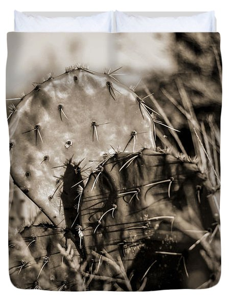 Duvet Cover featuring the photograph Old Cactus by Amber Kresge
