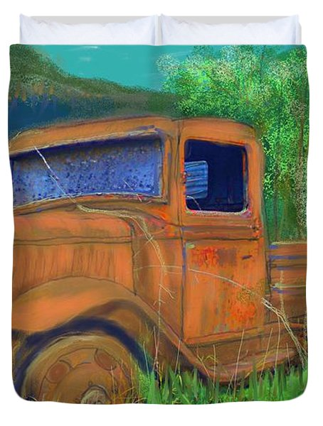 Old Canadian Truck Duvet Cover by Hidden  Mountain