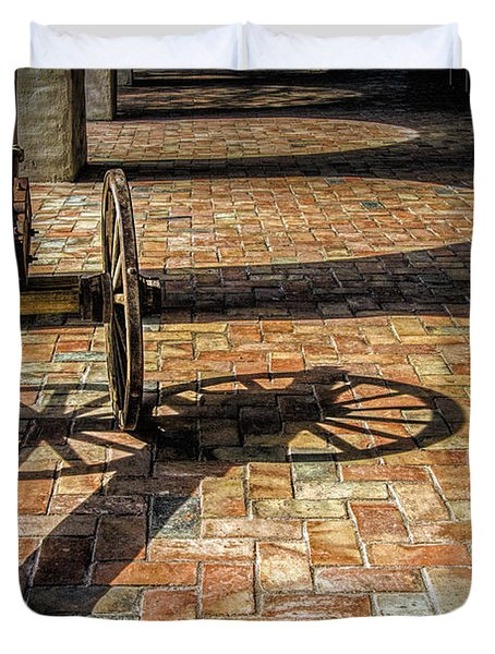 Old Canon And Shadows In The Courtyard Of The Old Aranama Mission Duvet Cover