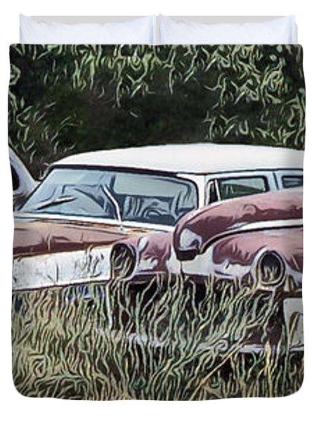 Old Car Graveyard Duvet Cover