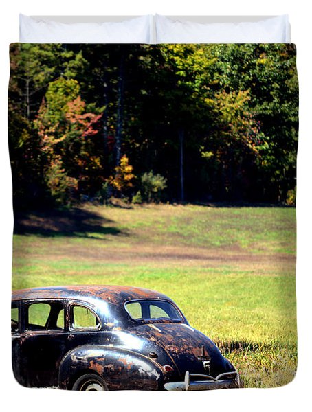 Old Car In A Meadow Duvet Cover