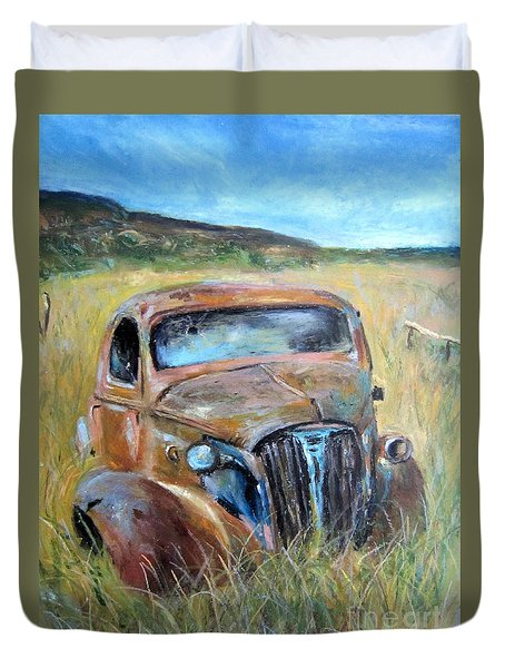 Duvet Cover featuring the painting Old Car by Jieming Wang