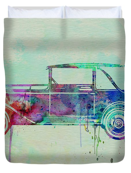 Old Car Watercolor Duvet Cover by Naxart Studio