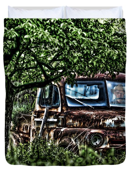 Old Car With Ghost Driver Duvet Cover by Dan Friend