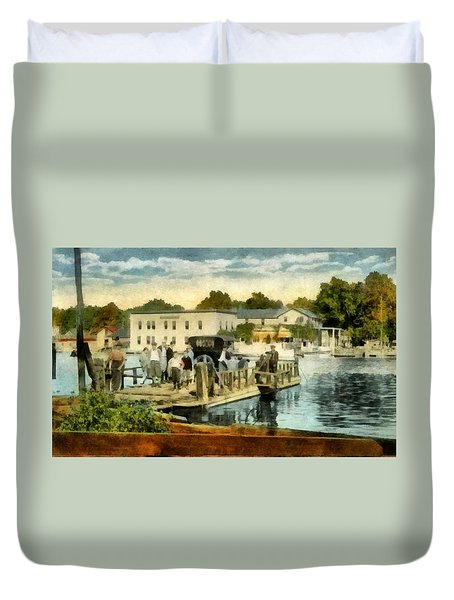 Old Chain Ferry Saugatuck Michigan Duvet Cover