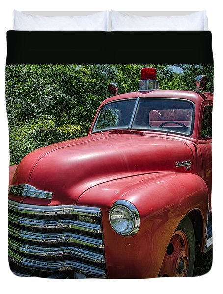 Old Chevy Fire Engine Duvet Cover by Susan  McMenamin