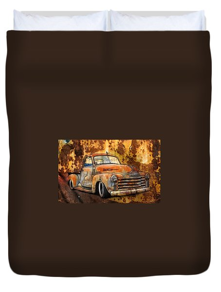Old Chevy Rust Duvet Cover by Steve McKinzie