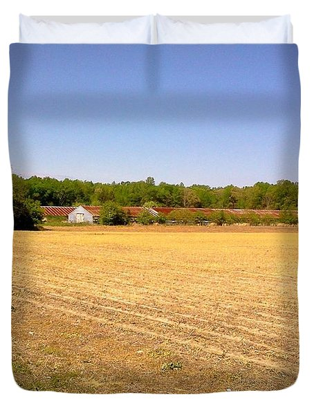 Old Chicken House On A Farm Field Duvet Cover