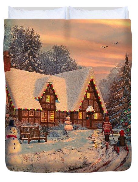 Old Christmas Cottage Duvet Cover by Dominic Davison