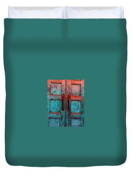 Duvet Cover featuring the photograph Old Church Door Handles 1 by Becky Lupe