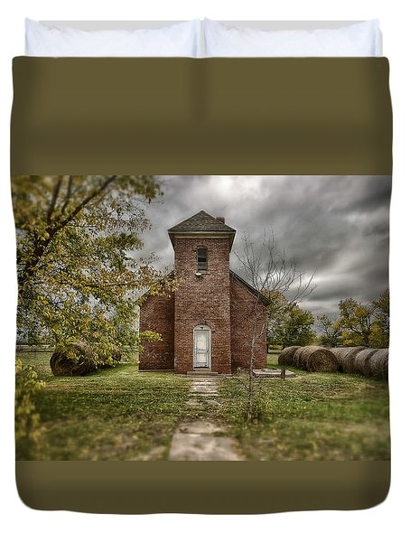 Old Church In Fall Duvet Cover