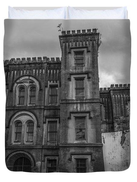 Old City Jail In Black And White Duvet Cover