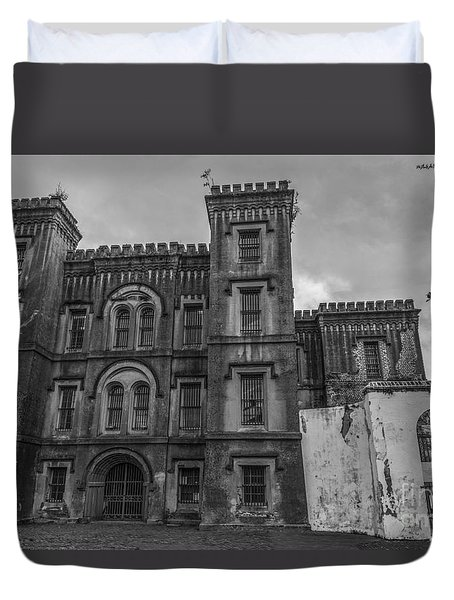 Old City Jail In Black And White Duvet Cover