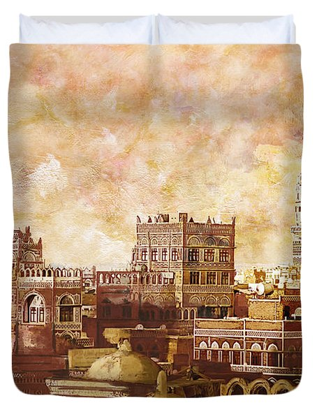 Old City Of Sanaa Duvet Cover by Catf
