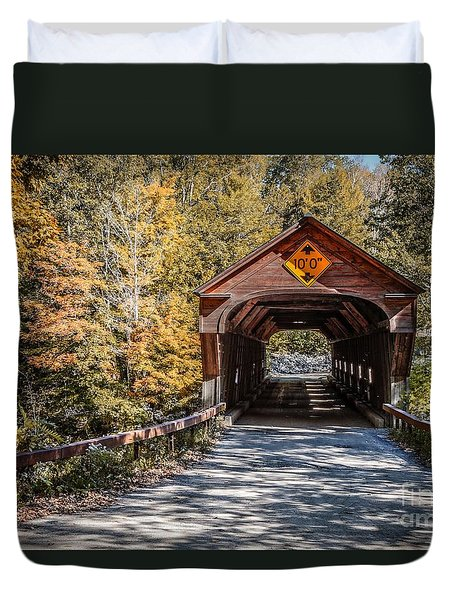 Duvet Cover featuring the photograph Old Covered Bridge Vermont by Edward Fielding