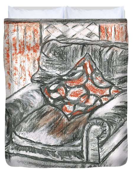 Duvet Cover featuring the drawing Old Cozy Chair by Teresa White