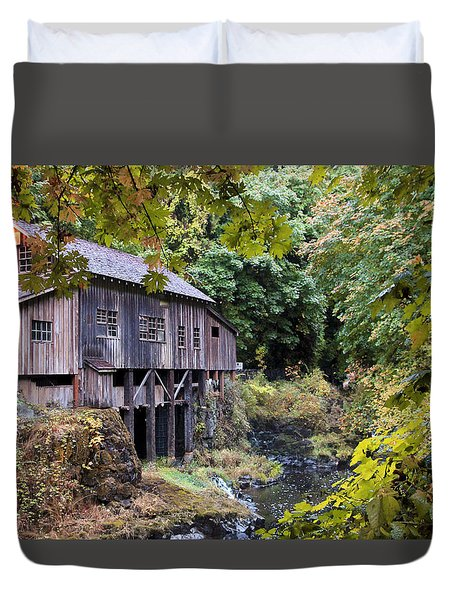 Old Creek Grist Mill In Autumn Duvet Cover by Athena Mckinzie