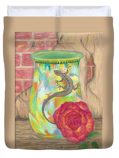 Old Crock And Rose Duvet Cover