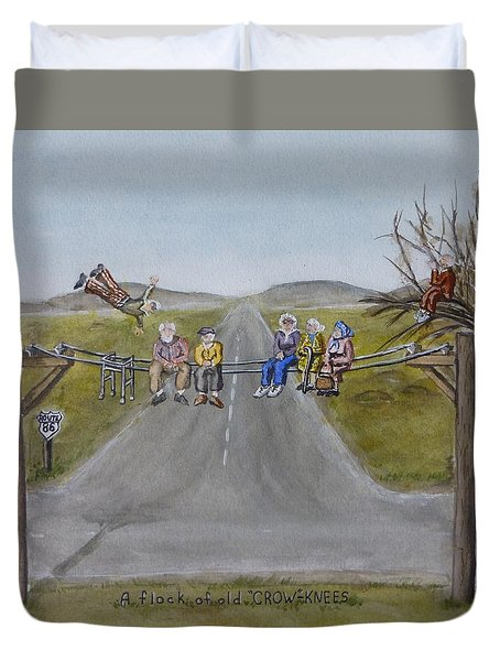 Duvet Cover featuring the painting Old Crowknees Fly South by Kelly Mills
