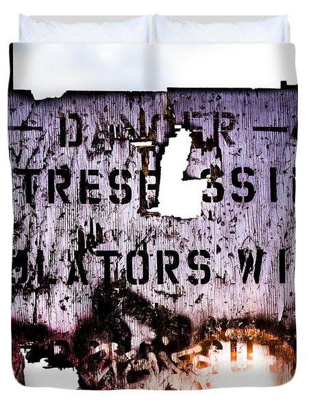 Old Danger Duvet Cover by Bob Orsillo