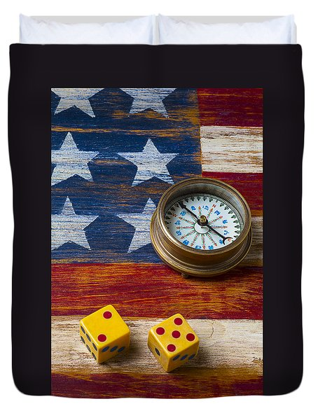 Old Dice And Compass Duvet Cover by Garry Gay