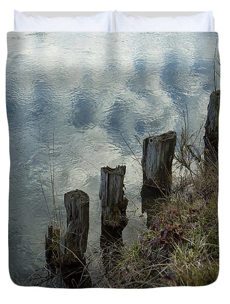 Old Dock Supports Along The Canal Bank - No 1 Duvet Cover by Belinda Greb