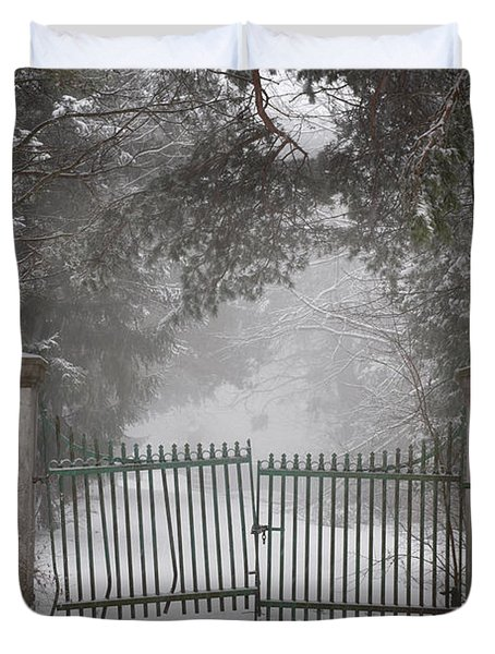 Old Driveway Gate In Winter Duvet Cover