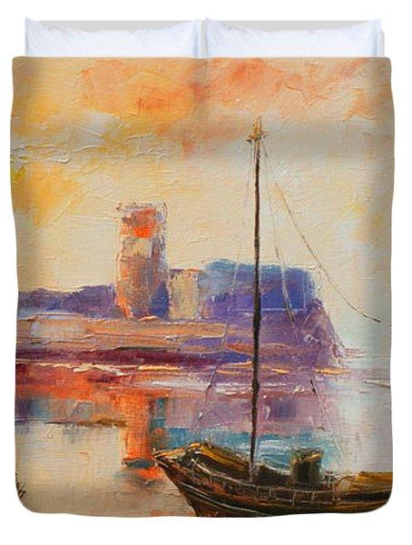 Old Dunbar Harbour Duvet Cover