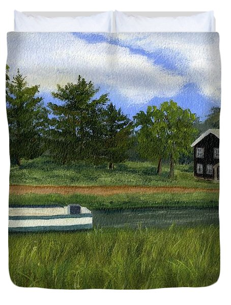 Duvet Cover featuring the painting Old Erie by Lynne Reichhart