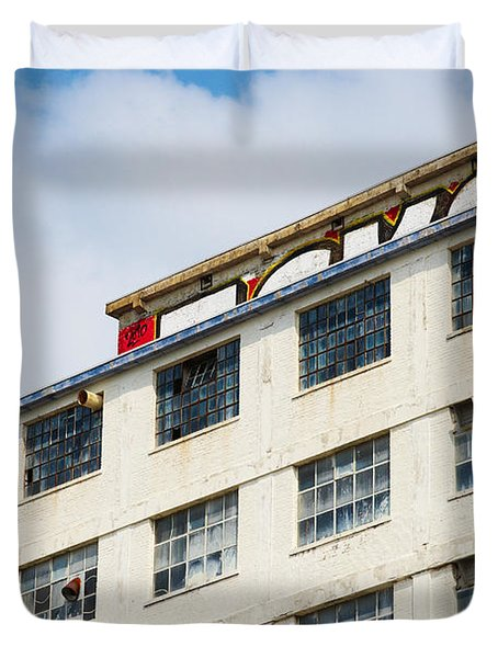 Duvet Cover featuring the photograph Old Factory Under A Clear Blue Sky by Nick  Biemans