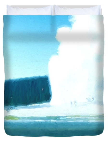 Duvet Cover featuring the digital art Old Faithful  by Cathy Anderson