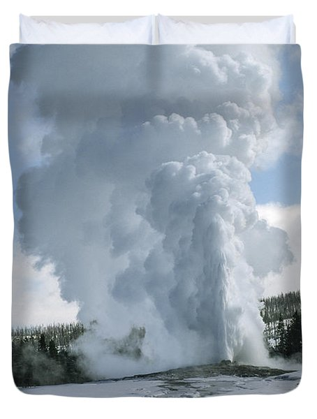 Old Faithful In Her Glory - Yellowstone Duvet Cover by Sandra Bronstein