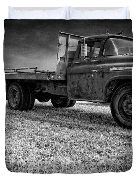 Old Farm Truck Black And White Duvet Cover