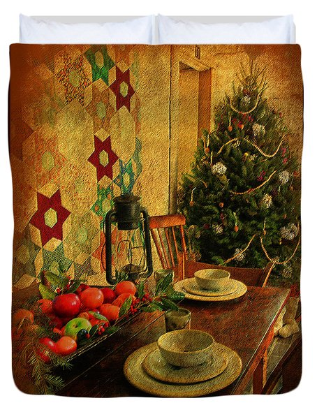 Duvet Cover featuring the photograph Old Fashion Christmas At Atalaya by Kathy Baccari