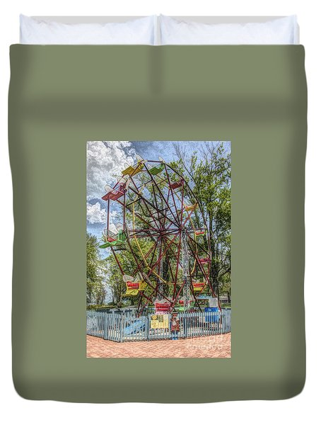 Old Fashioned Ferris Wheel Duvet Cover by The Art of Alice Terrill