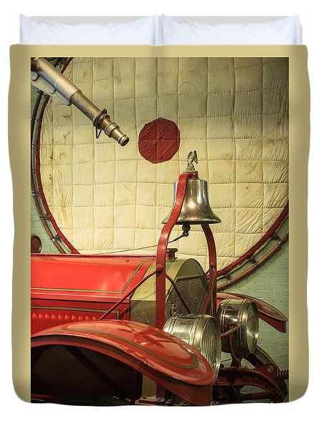 Old Fire Truck Engine Safety Net Duvet Cover