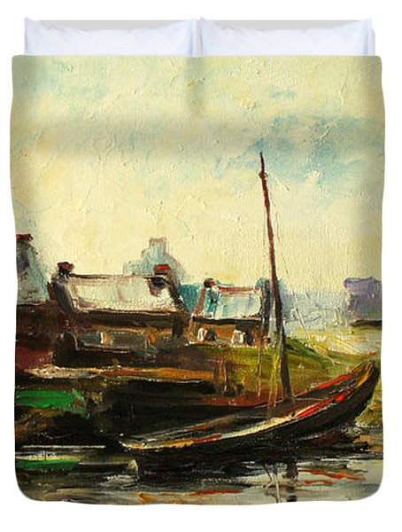 Old Fisherman's Village Duvet Cover